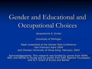 Gender and Educational and Occupational Choices