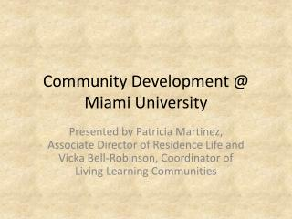 Community Development @ Miami University