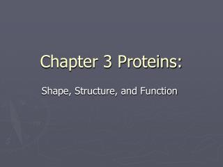 Chapter 3 Proteins: