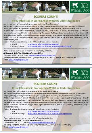 SCORERS COUNT! If you Interested  in  Scoring, then Wiltshire  Cricket Needs  You