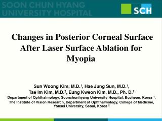 Changes in Posterior Corneal Surface After Laser Surface Ablation for Myopia