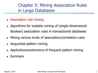 Chapter 5: Mining Association Rules in Large Databases