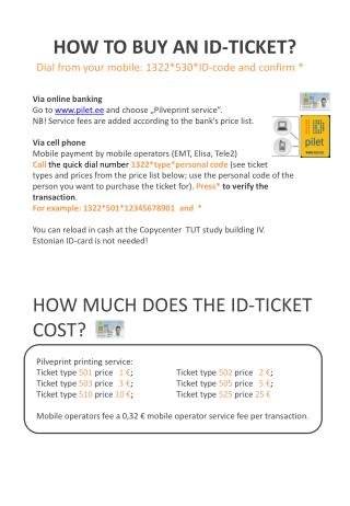 HOW TO BUY AN ID‐TICKET?