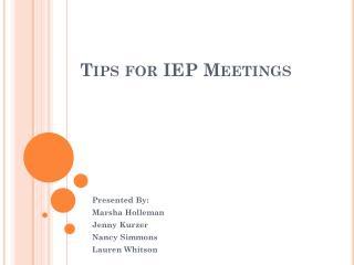 Tips for IEP Meetings
