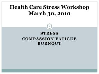 Health Care Stress Workshop March 30, 2010