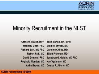 Minority Recruitment in the NLST