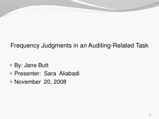 Frequency Judgments in an Auditing-Related Task
