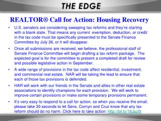 REALTOR® Call for Action: Housing Recovery