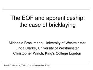 The EQF and apprenticeship: the case of bricklaying
