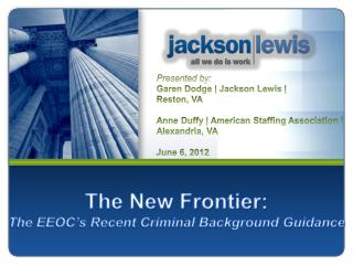 The New Frontier: The EEOC's Recent Criminal Background Guidance