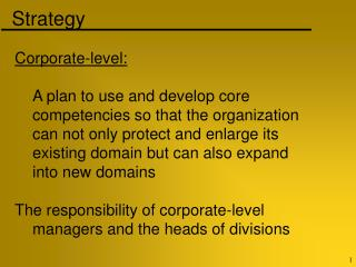 Corporate-level: 	A plan to use and develop core  	competencies so that the organization