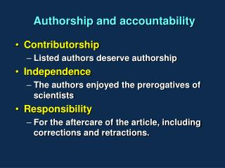 Authorship and accountability