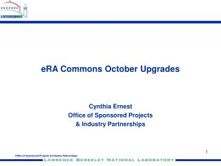 eRA Commons October Upgrades