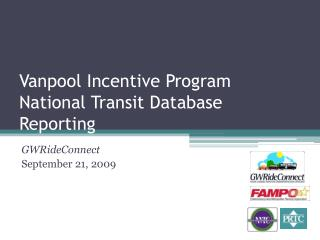 Vanpool Incentive Program National Transit Database Reporting
