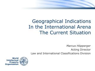 Geographical Indications  In the International Arena The Current Situation