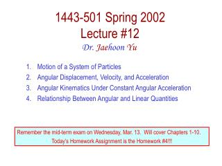 1443-501 Spring 2002 Lecture #12