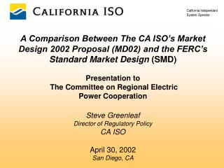 - Overview - Need for ISO Market Design