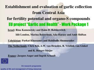 Establishment and evaluation of garlic collection from Central Asia