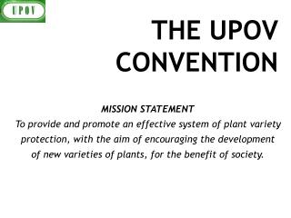 THE UPOV CONVENTION