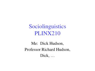 Sociolinguistics PLINX210
