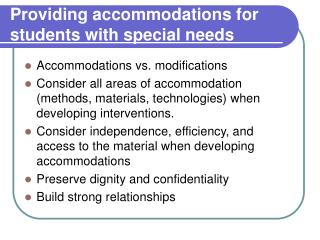 Providing accommodations for students with special needs