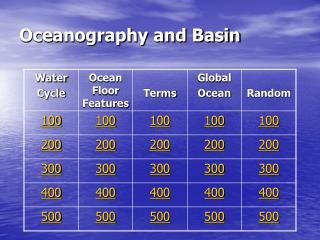 Oceanography and Basin