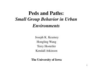 Peds and Paths:  Small Group Behavior in Urban Environments