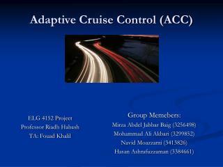 Adaptive Cruise Control (ACC)