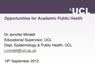 Opportunities for Academic Public Health