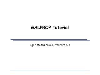 GALPROP tutorial