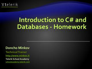 Introduction to C# and Databases - Homework