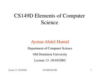 CS149D Elements of Computer Science