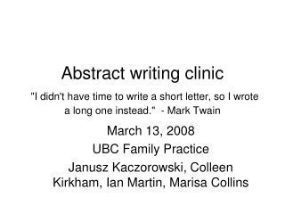 March 13, 2008 UBC Family Practice