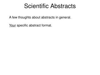 Scientific Abstracts