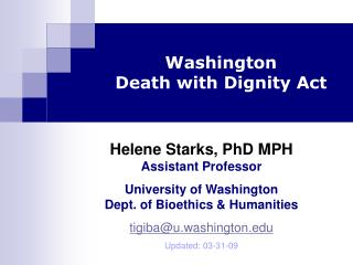 Washington Death with Dignity Act