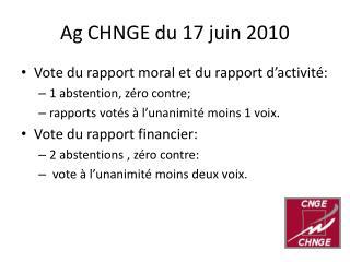 Ag CHNGE du 17 juin 2010