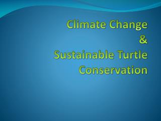 Climate Change &  Sustainable Turtle Conservation