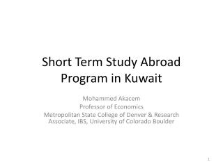 Short Term Study Abroad Program in Kuwait