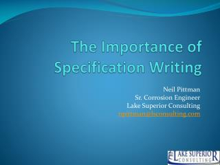 The Importance of Specification Writing