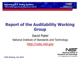 Report of the Auditability Working Group