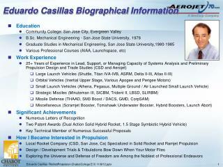 Eduardo  Casillas  Biographical  Information