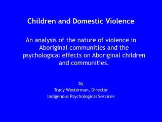 Children and Domestic Violence