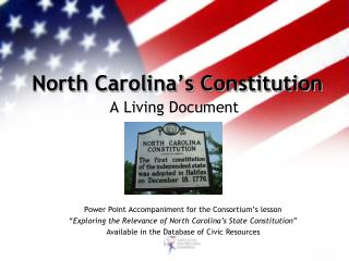 North Carolina�s Constitution