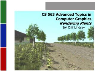 CS 563 Advanced Topics in  Computer Graphics Rendering Plants