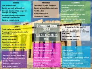 Summer  Term  2014 It's all Greek to me!