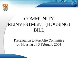 COMMUNITY REINVESTMENT (HOUSING) BILL