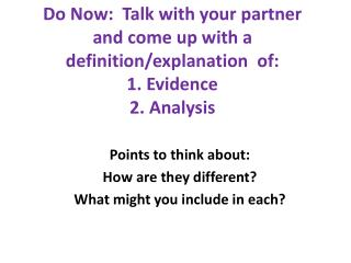 Points to think about: How are they different? What might you include in each?
