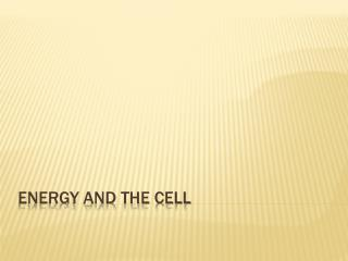 Energy and the Cell