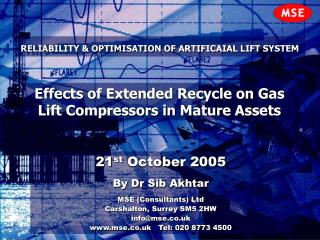 RELIABILITY & OPTIMISATION OF ARTIFICAIAL LIFT SYSTEM