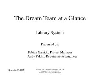 The Dream Team at a Glance